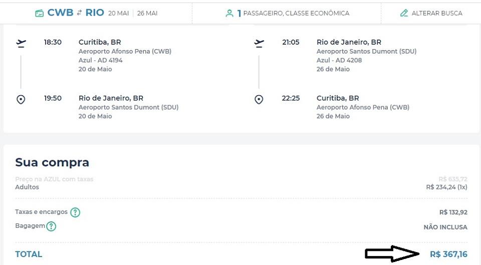 Passagens aéreas de ida e volta Curitiba/SP por apenas R$ 229 e para Rio a R$ 367 para viagem em maio