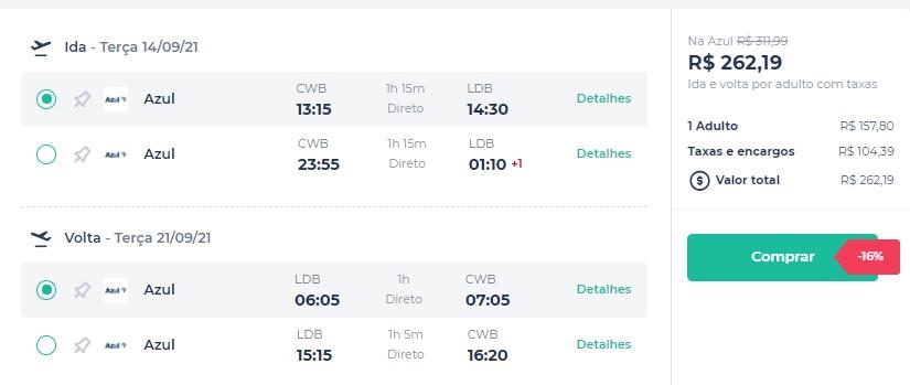 Azul vende passagens por apenas R$ 262 nos voos de Curitiba para Londrina; confira outras promoções