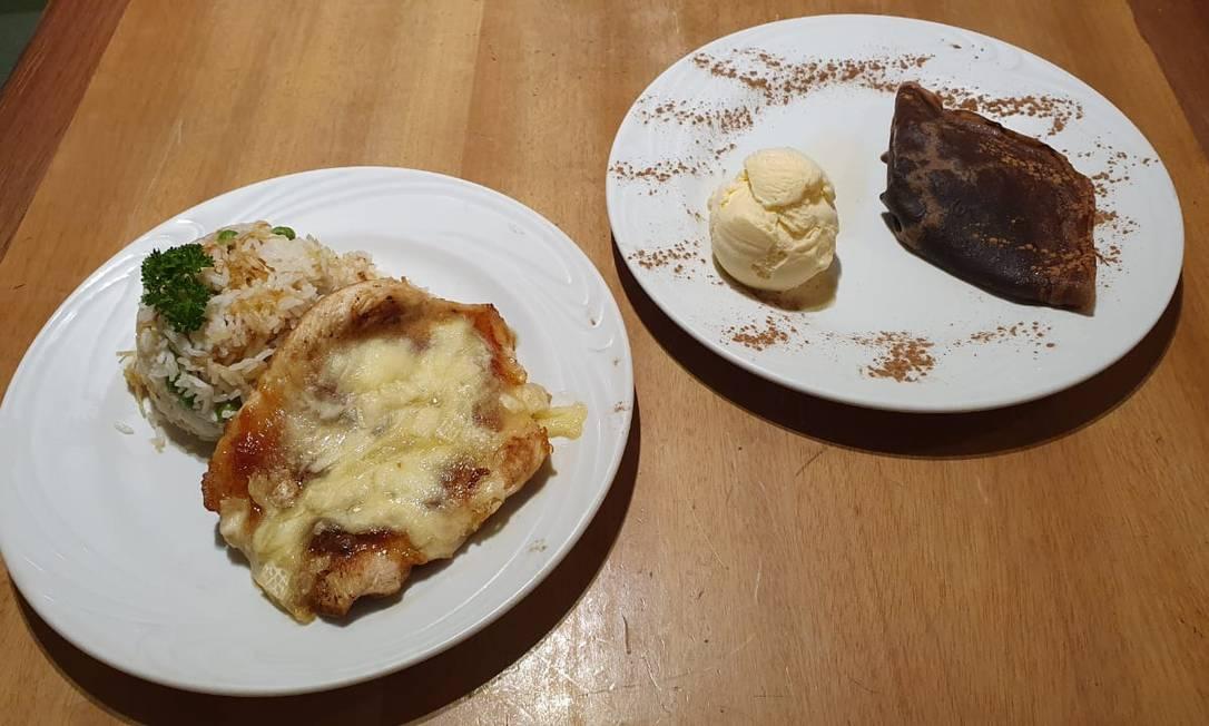 Dois em cena. Menu inclui frango com queijo brie e crepe de Nutella Foto: Divulgação