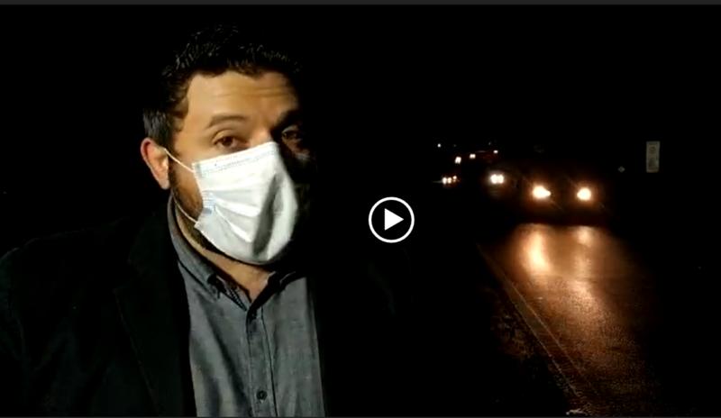 Repórter Maikon Costa mostra situação da BR-101 por volta das 18h50 desta terça-feira, dia 7 – Foto: Reprodução/ND